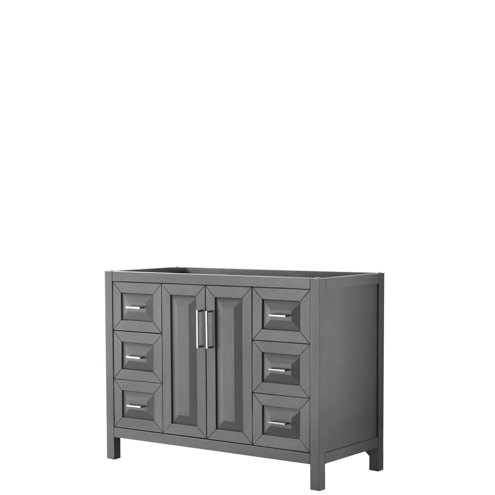 48 inch Single Bathroom Vanity in Dark Gray, No Countertop, No Sink, and No Mirror - Wyndham WCV252548SKGCXSXXMXX