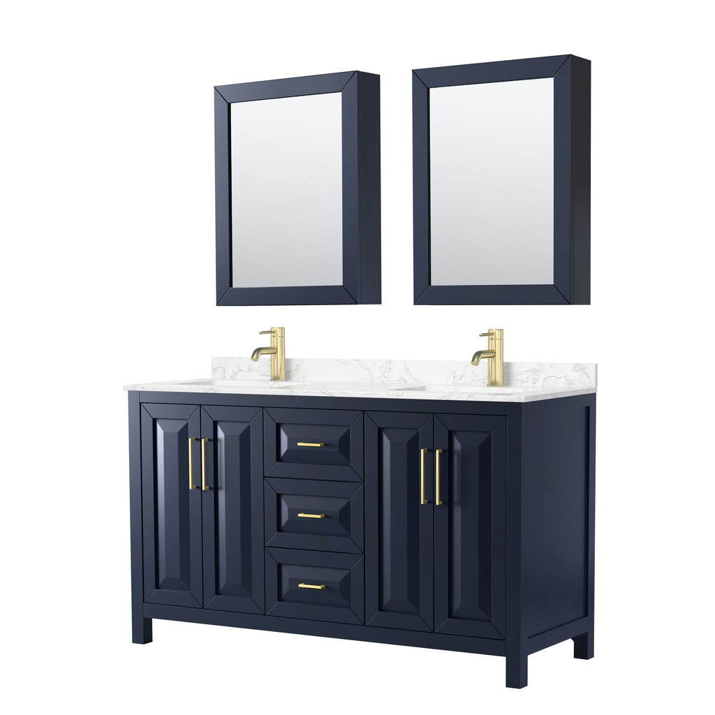 Double Bathroom Vanity Blue Vein Marble Countertop Undermount Square Sinks Medicine Cabinets