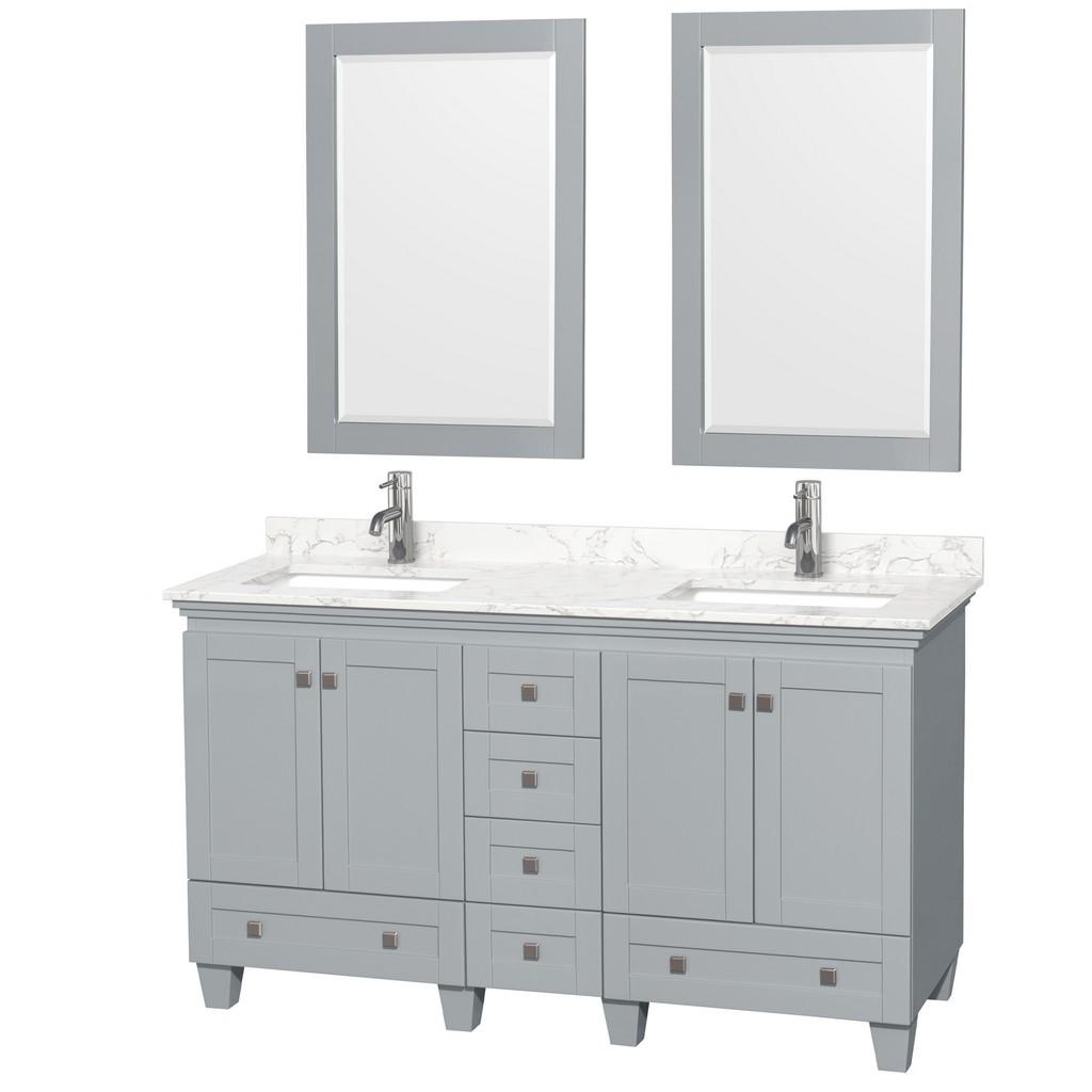 Double Bathroom Vanity Gray Vein Marble Countertop Undermount Square Sinks Mirrors
