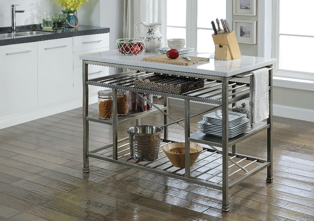 Acme Lanzo Kitchen Island Counter Marble Antique Pewter