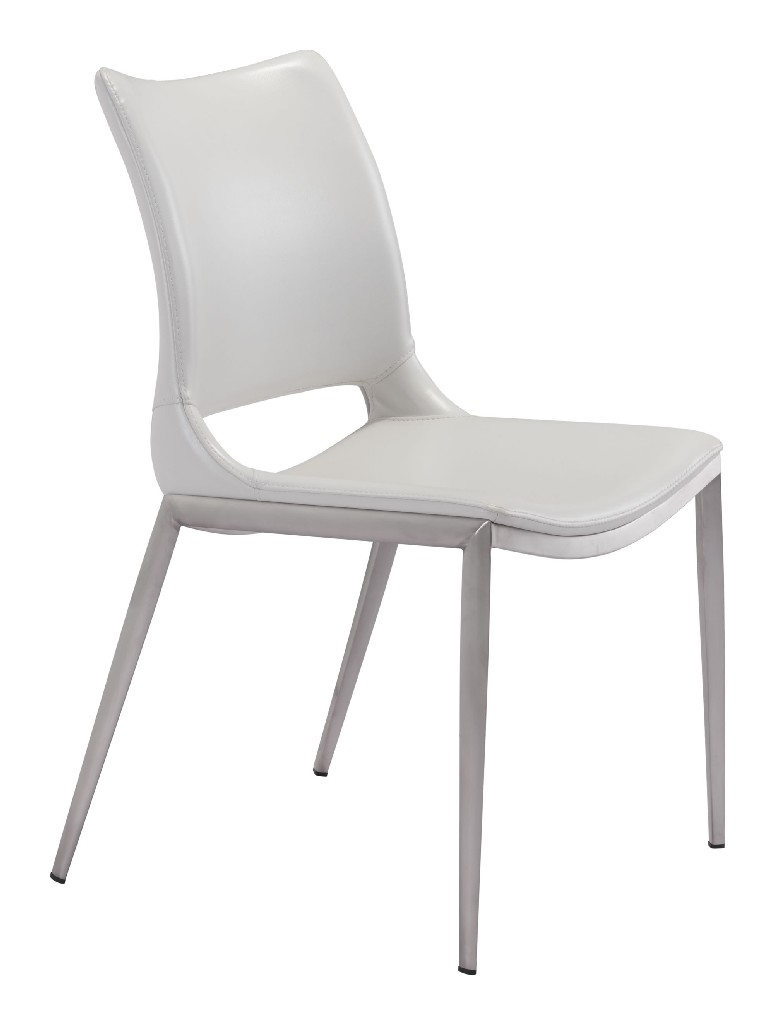 Ace Dining Chair White & Brushed Stainless Steel (Set of 2) - Zuo 101279