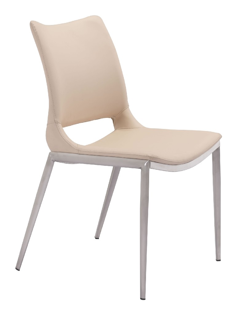 Ace Dining Chair Light Pink & Brushed Stainless Steel (Set of 2) - Zuo 101281