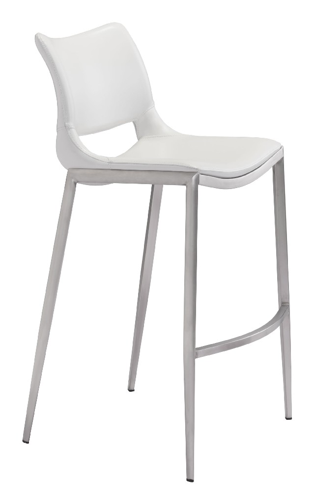 Ace Bar Chair White & Brushed Stainless Steel (Set of 2) - Zuo 101283