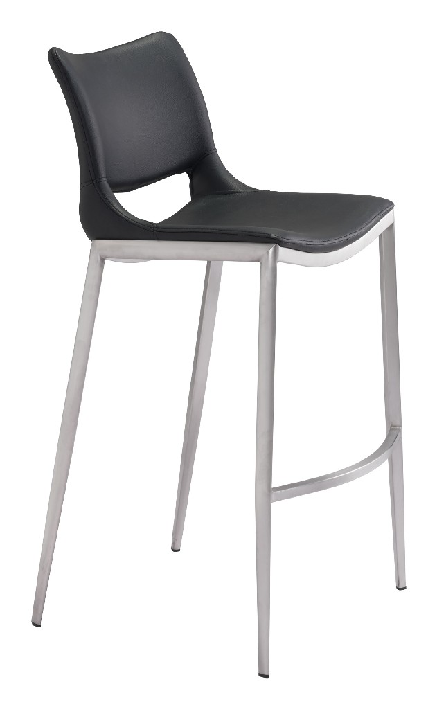 Ace Bar Chair Black & Brushed Stainless Steel (Set of 2) - Zuo 101284