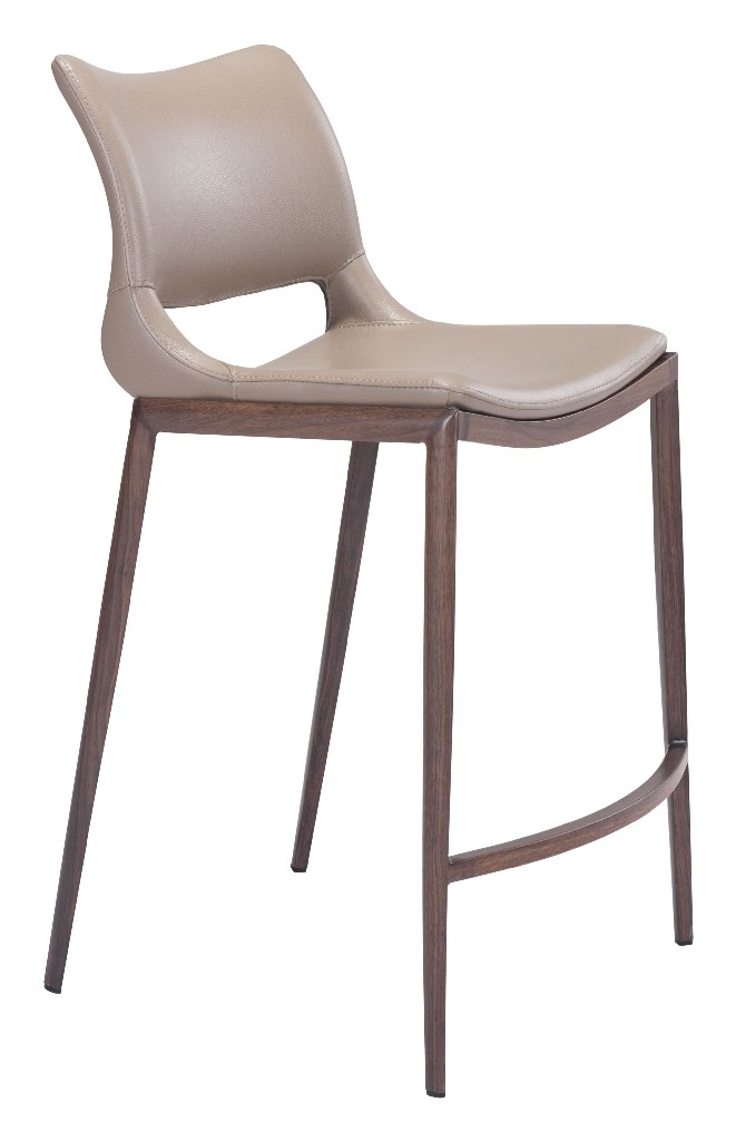 Ace Counter Chair Gray & Walnut (Set of 2) - Zuo 101392