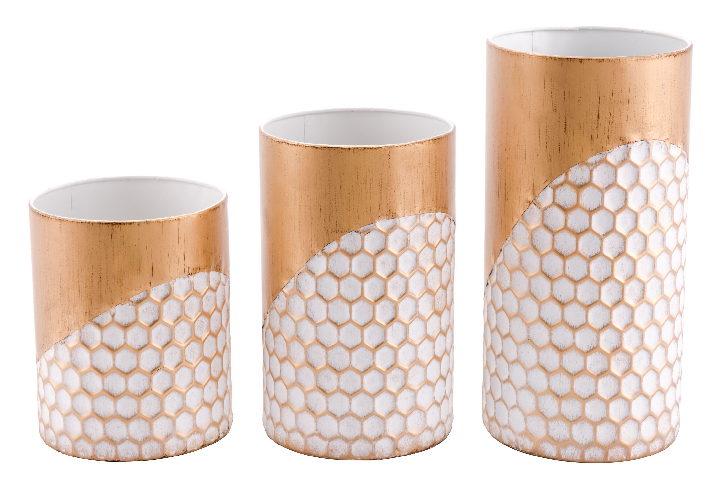 3 Honeycomb Candle Holders Gold - Zuo Modern A10634