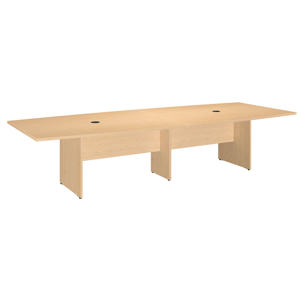 """Bush Business Furniture 99TB12048ACK - 120""""L x 48""""W Boat Top Conference Table - Wood Base in Natural Maple"""