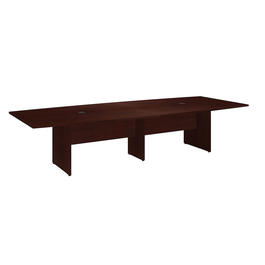 """Bush Business Furniture 99TB12048CSK - 120""""L x 48""""W Boat Top Conference Table - Wood Base in Harvest Cherry"""