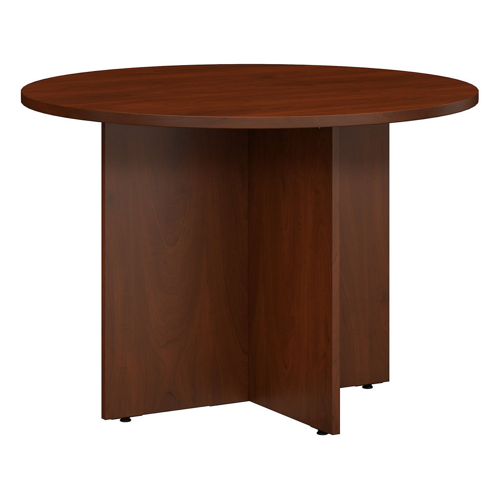 Bush Business Furniture 99TB42RHC - Series C 42W Round Conference Table with Wood Base in Hansen Cherry