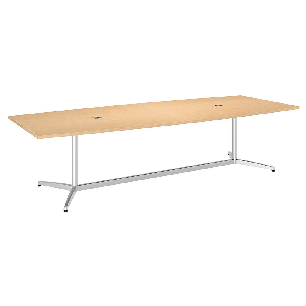 """Bush Business Furniture 99TBM120ACSVK - 120""""L x 48""""W Boat Top Conference Table - Metal Base in Natural Maple"""