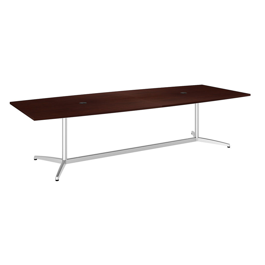 """Bush Business Furniture 99TBM120CSSVK - 120""""L x 48""""W Boat Top Conference Table - Metal Base in Harvest Cherry"""