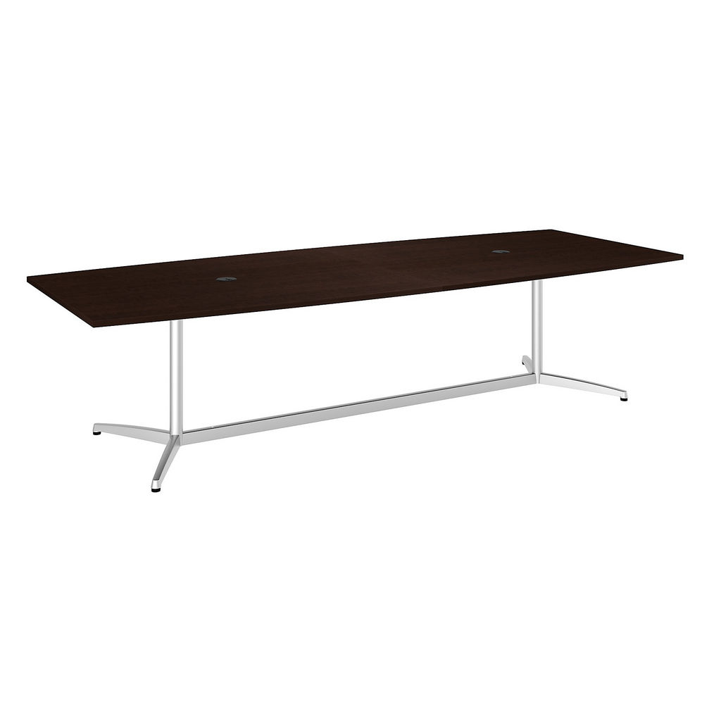 "Bush Business Furniture 99TBM120MRSVK - 120""L x 48""W Boat Top Conference Table - Metal Base in Mocha Cherry"