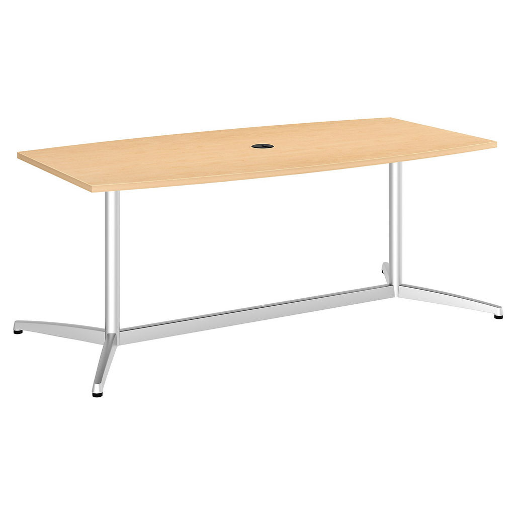 """Bush Business Furniture 99TBM72ACSVK - 72""""L x 36""""W Boat Top Conference Table - Metal Base in Natural Maple"""