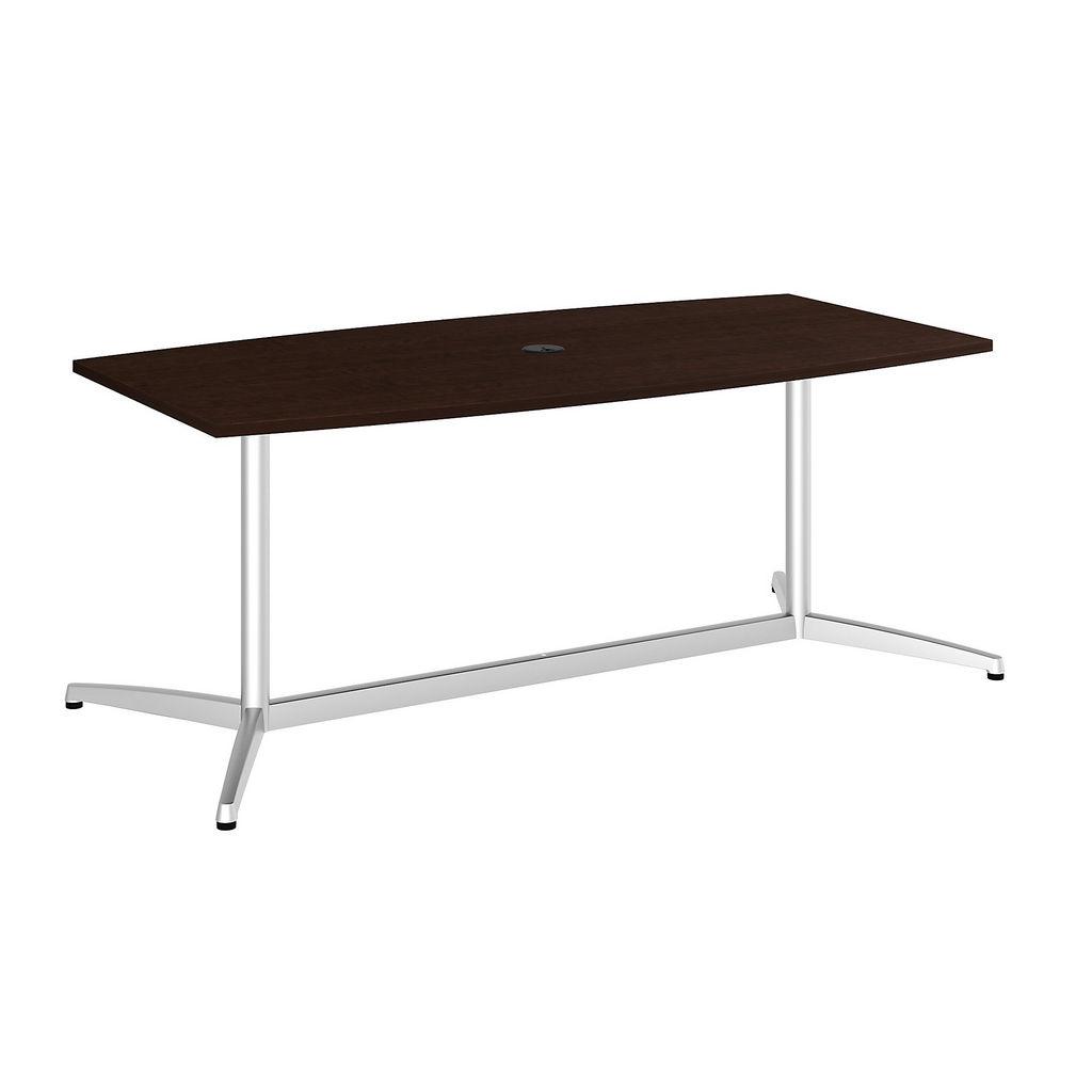 "Bush Business Furniture 99TBM72MRSVK - 72""L x 36""W Boat Top Conference Table - Metal Base in Mocha Cherry"