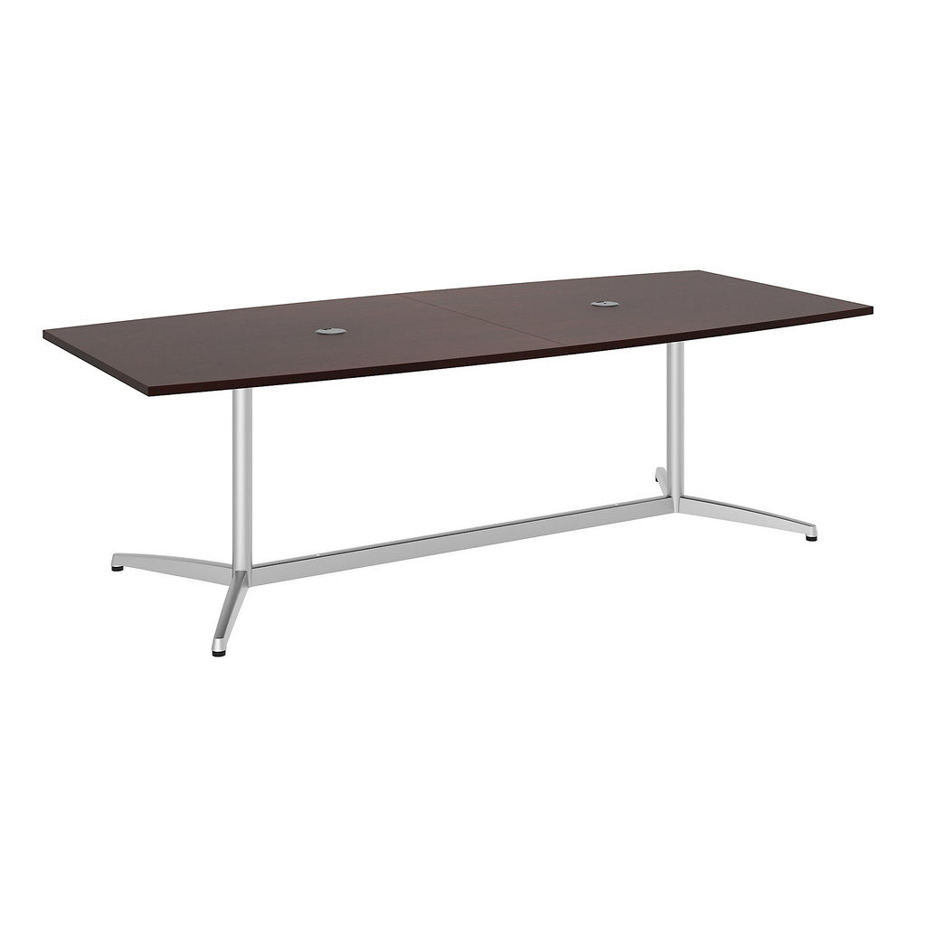"""Bush Business Furniture 99TBM96CSSVK - 96""""L x 42""""W Boat Top Conference Table - Metal Base in Harvest Cherry"""