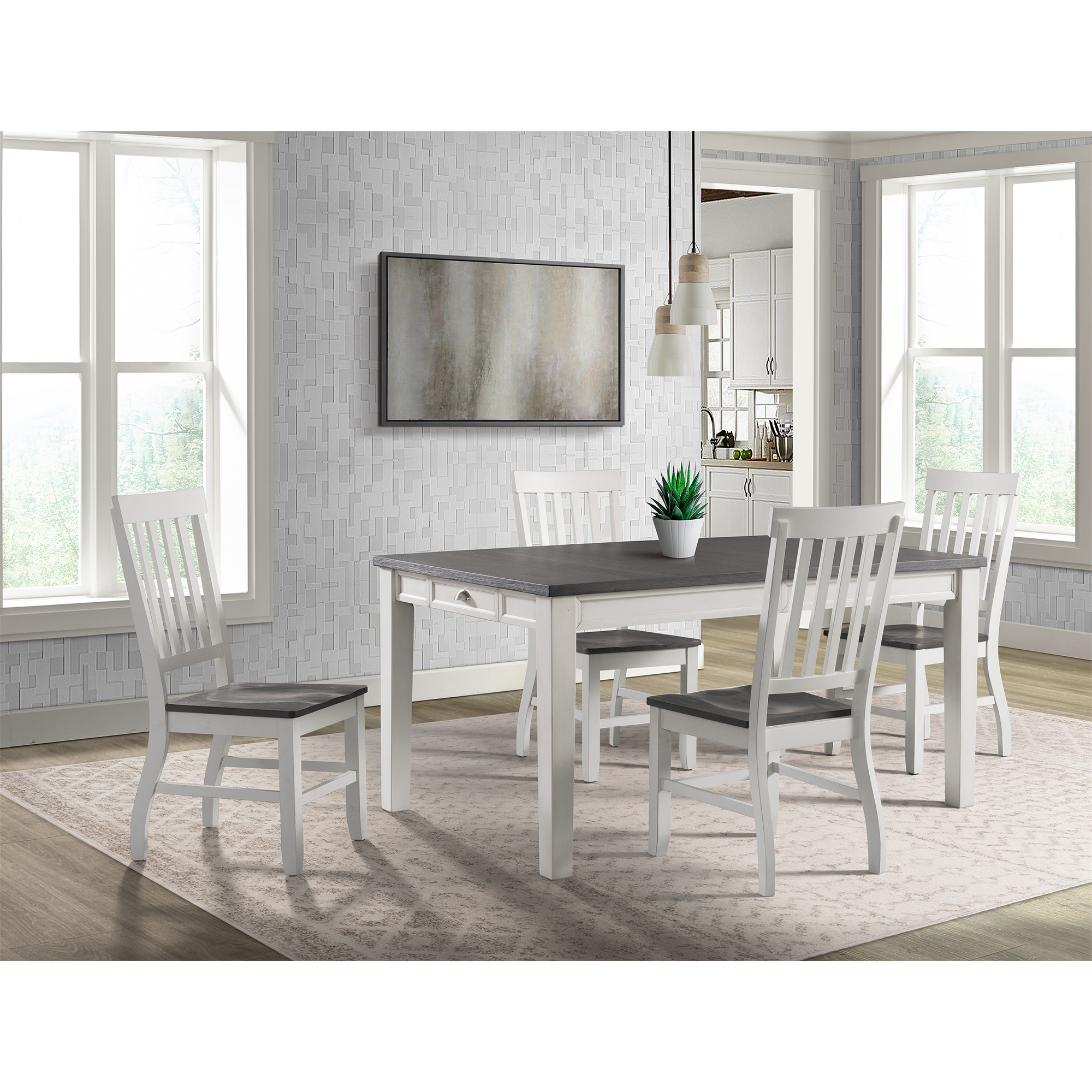 Picket House Jamison Two Tone Dining Set Table Four Chairs