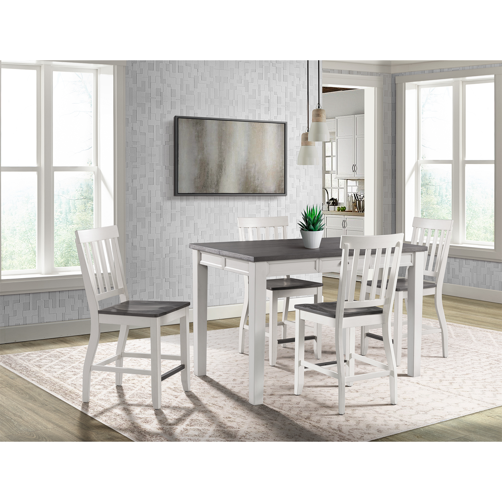 Picket House Jamison Two Tone Counter Height Dining Set Table Four Chairs