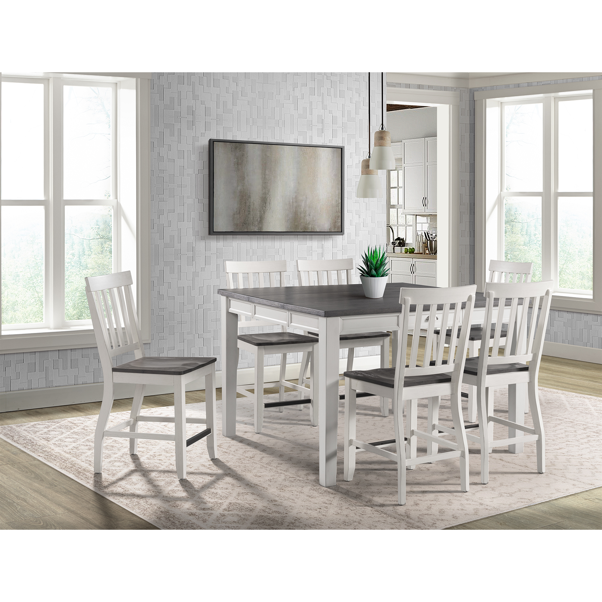 Picket House Jamison Two Tone Counter Height Dining Set Table Six Chairs