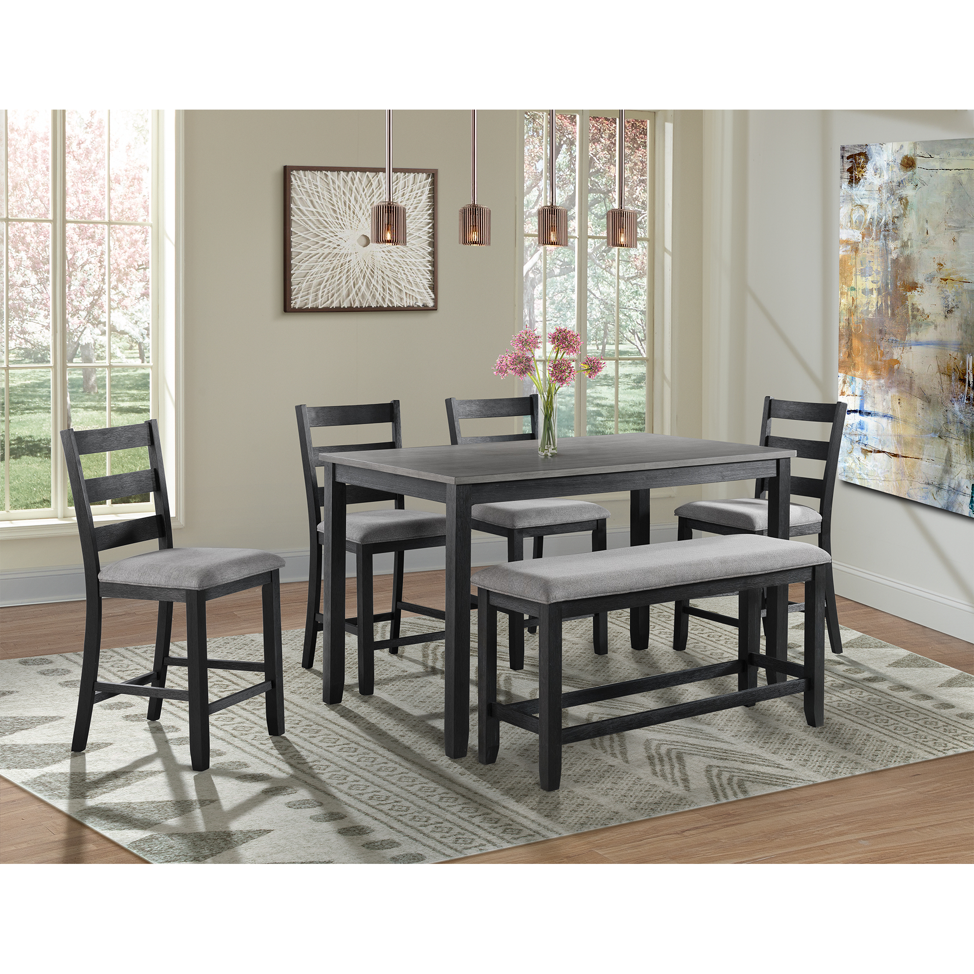 Picket House Kona Counter Height Dining Set Table Four Chairs Bench