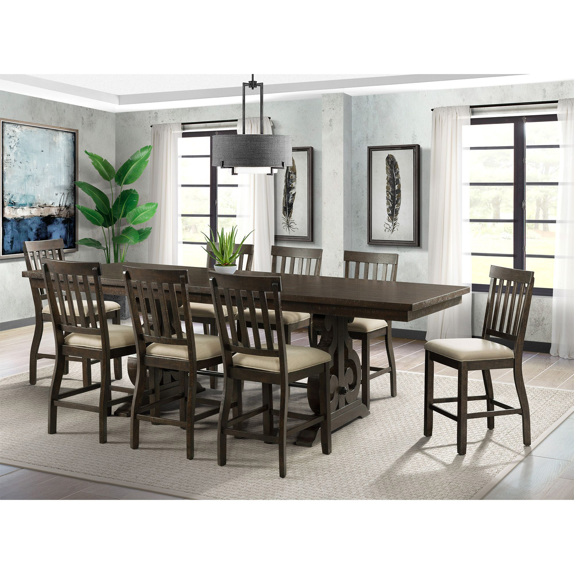 Picket House Dining Set Counter Table Slat Back Chairs