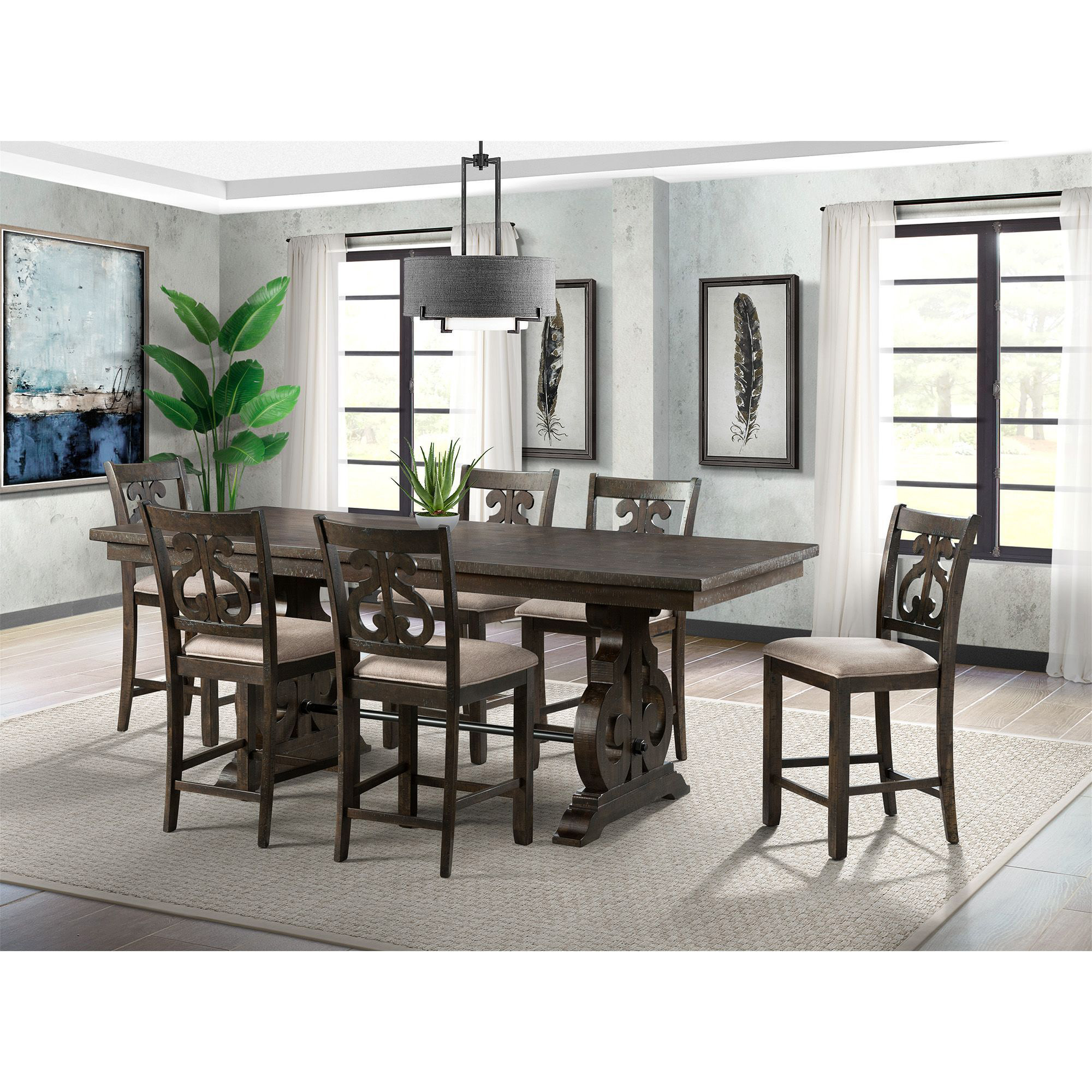 Dining Set Table Six Swirl Back Chairs