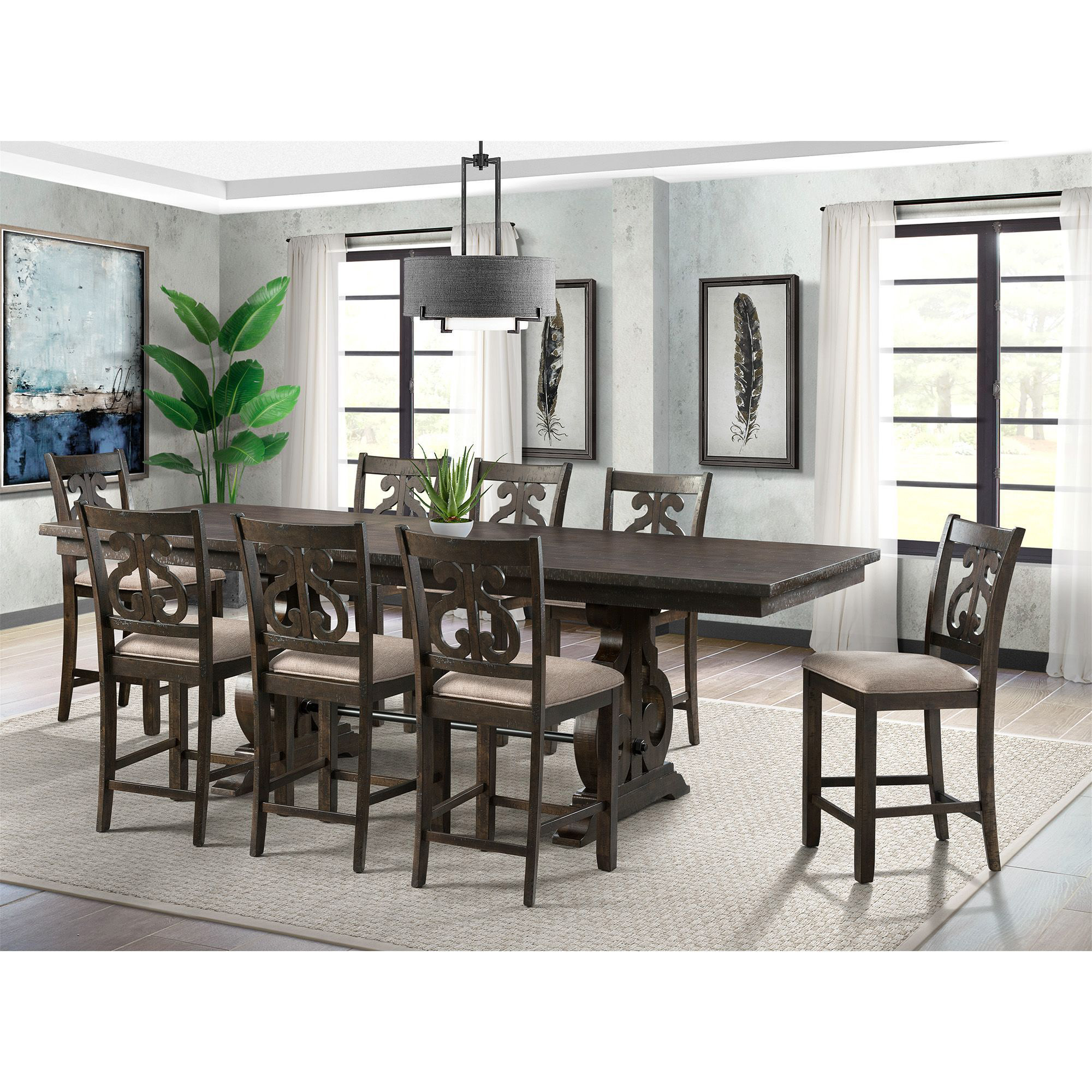 Picket House Dining Set Counter Table Swirl Back Chairs