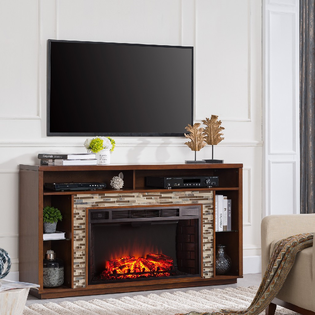 Southern Enterprise Callum Glass Tiled Tv Stand Fireplace