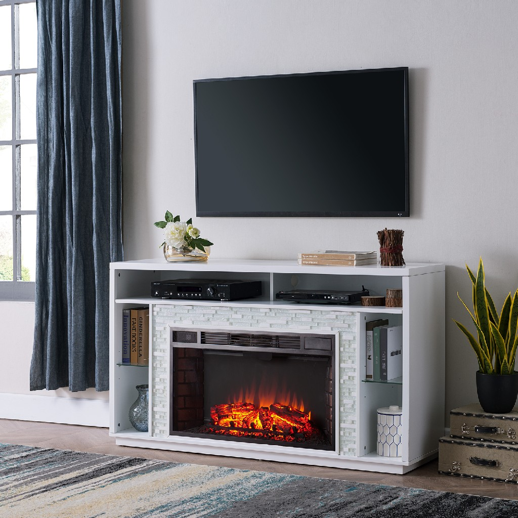 Southern Enterprise Callum Glass Tiled Media Fireplace