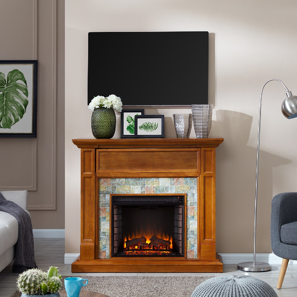 Southern Enterprise Vogelsdon Faux Stone Media Fireplace