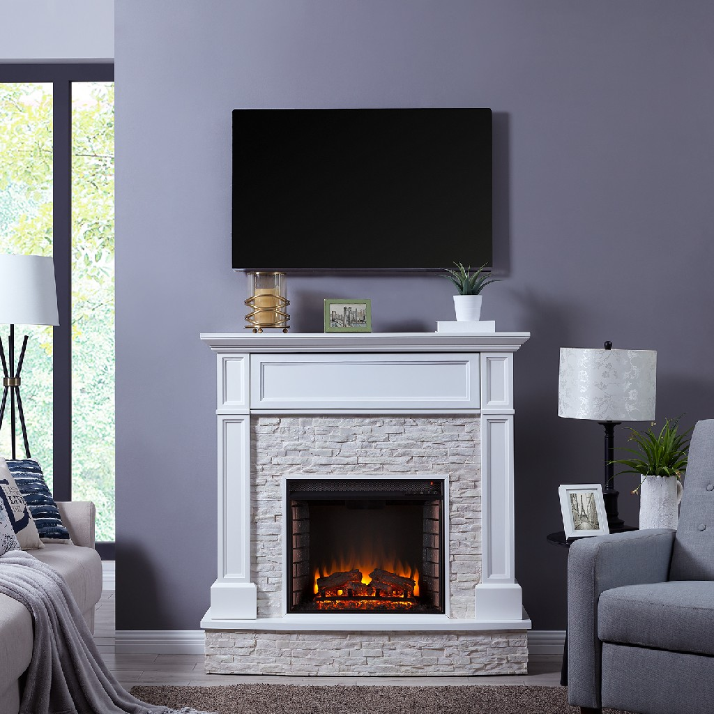 Southern Enterprise Jacksdale Faux Stone Media Fireplace