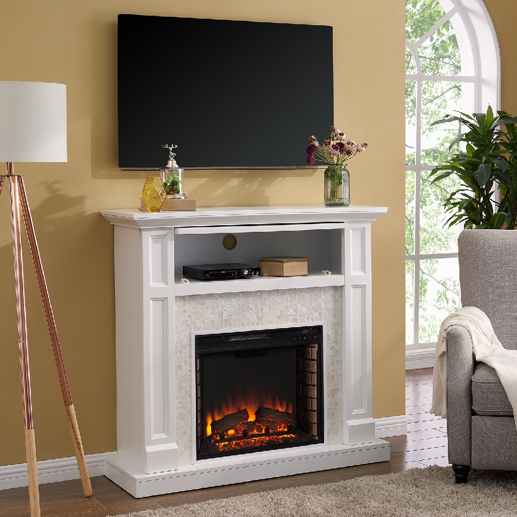 Southern Enterprise Nobleman Tiled Media Fireplace Console