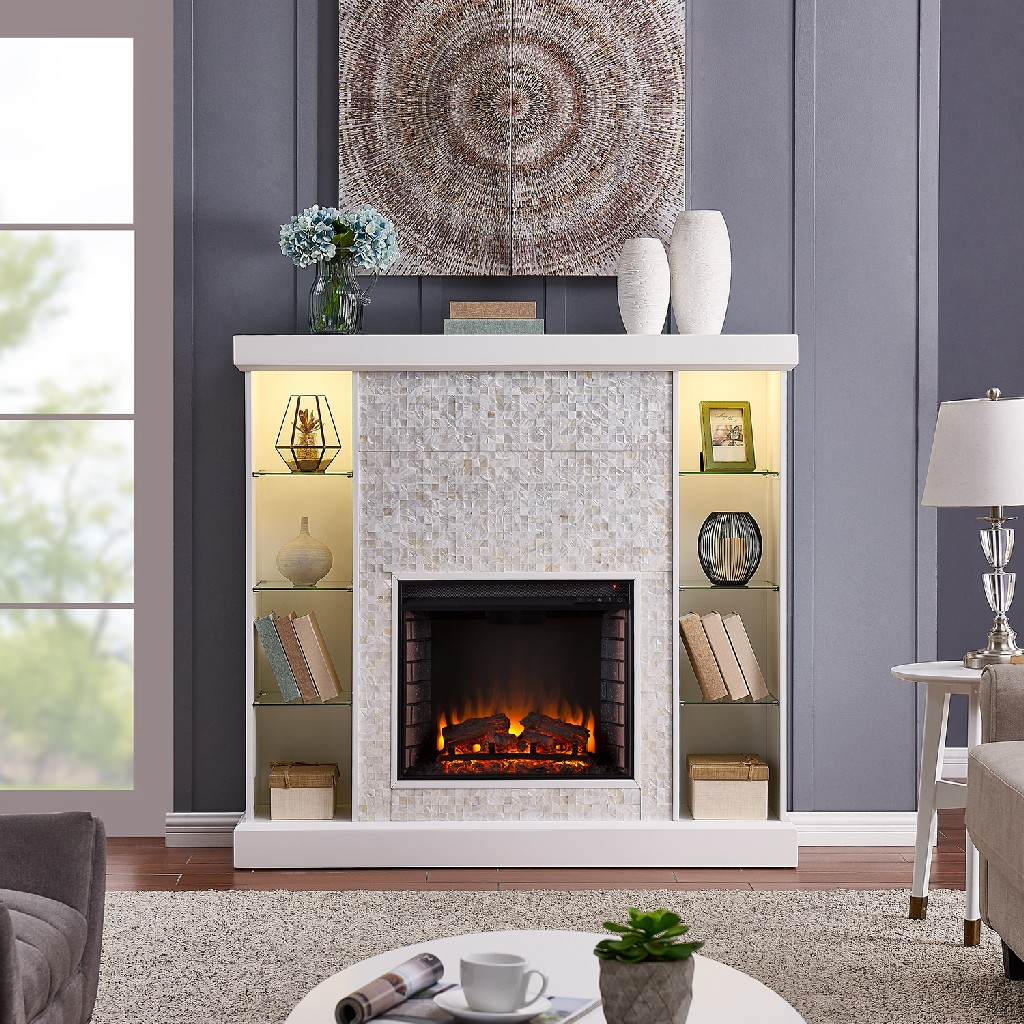 Southern Enterprise Colworth Mosaic Tiled Curio Fireplace