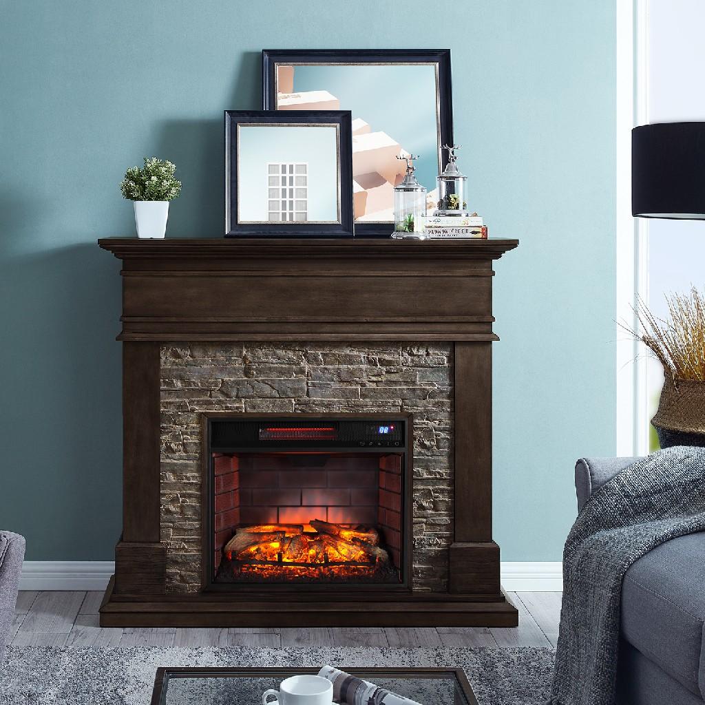 Southern Enterprise Hennington Faux Stone Fireplace