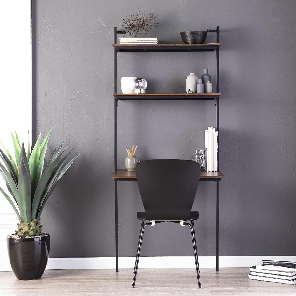 Haeloen Wall Mounted Floating Desk in Dark Tobacco & Black - Holly & Martin HO9751