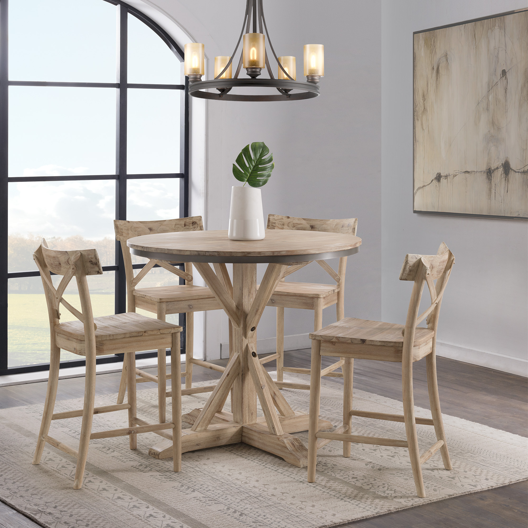 Picket House Furniture Round Dining Set Counter Table Stools Photo