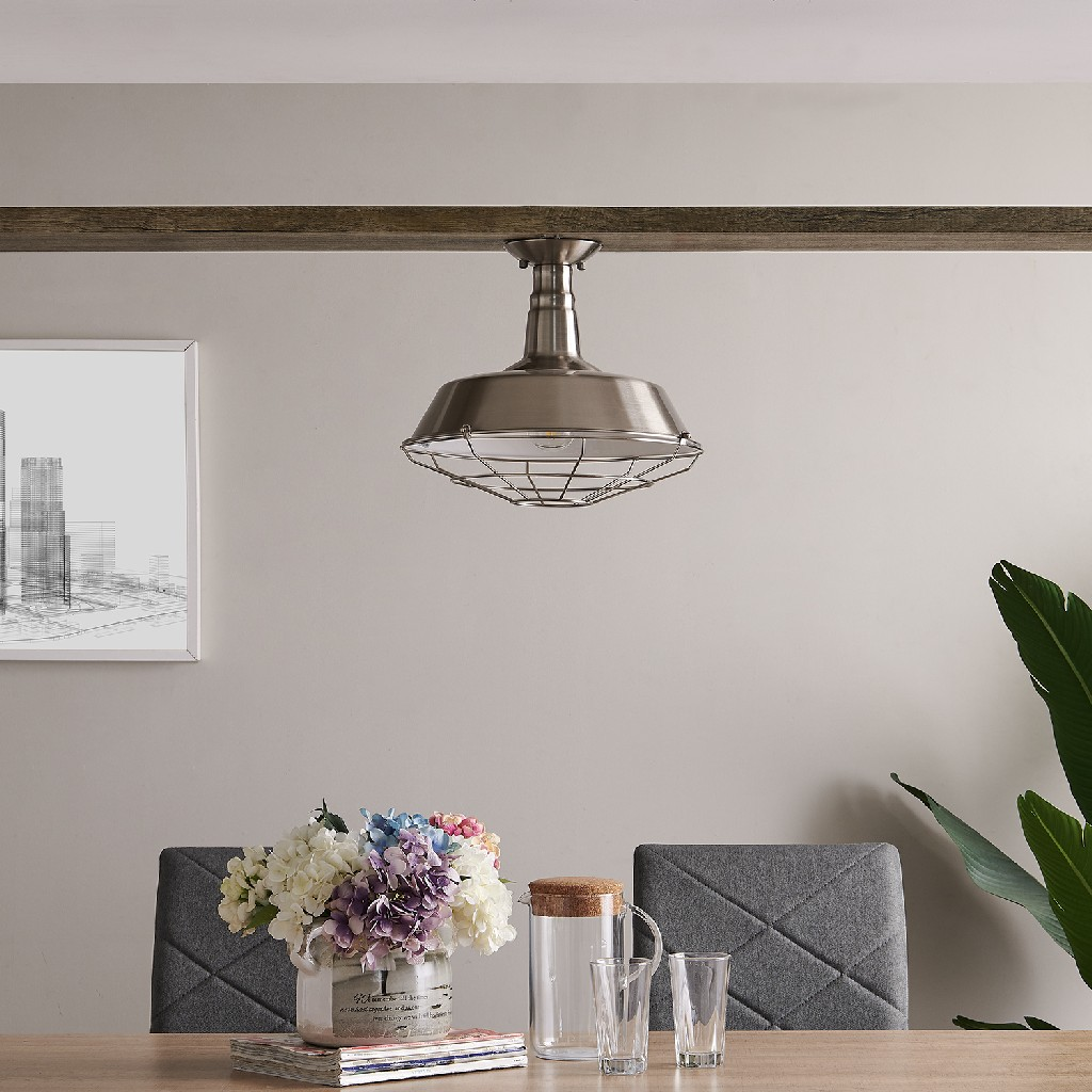 Amero Brushed Silver Flush Mount Pendant Lamp - Southern Enterprises LT8286