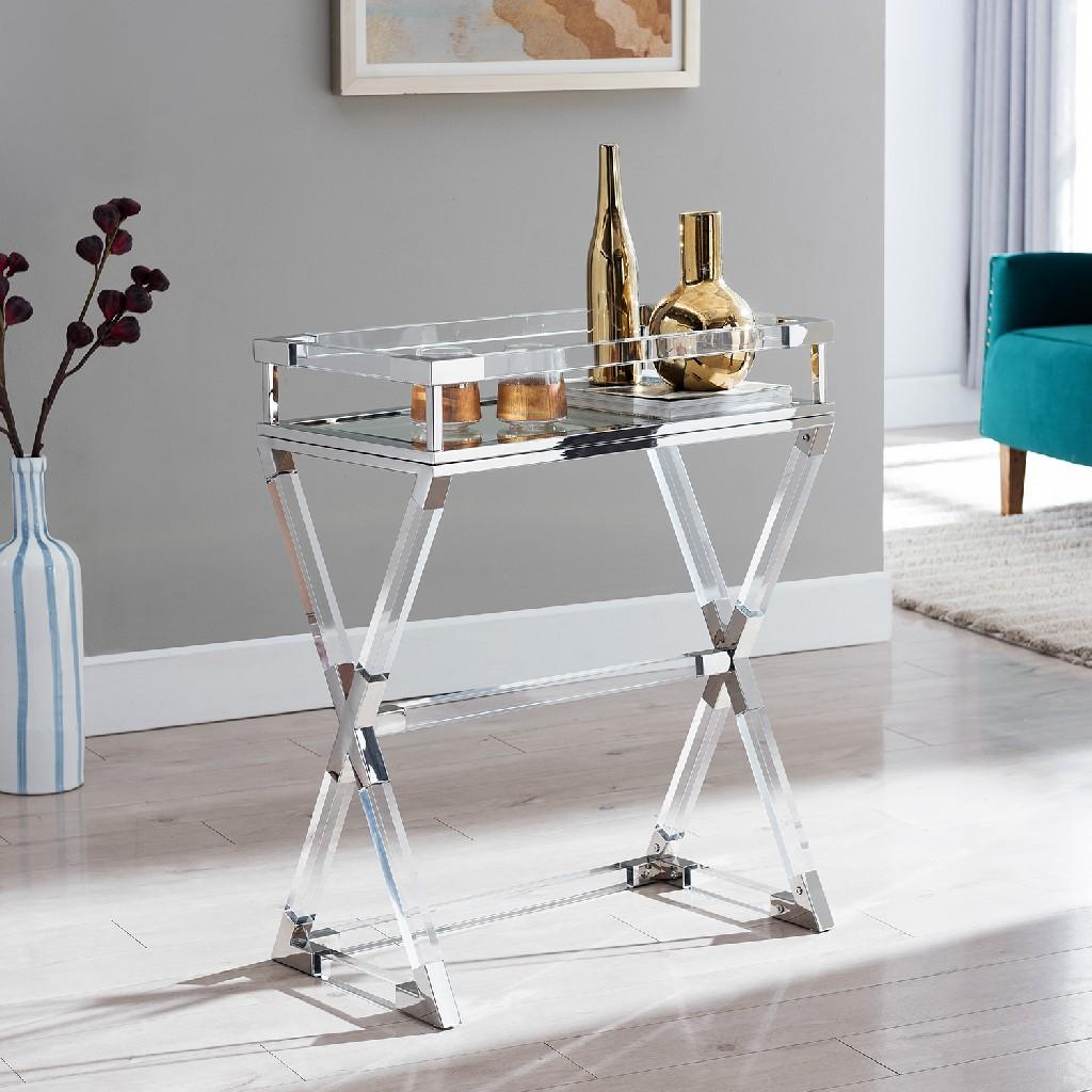 Bedoya Acrylic Serving Tray Table in Polished Nickel - Southern Enterprises OC7328