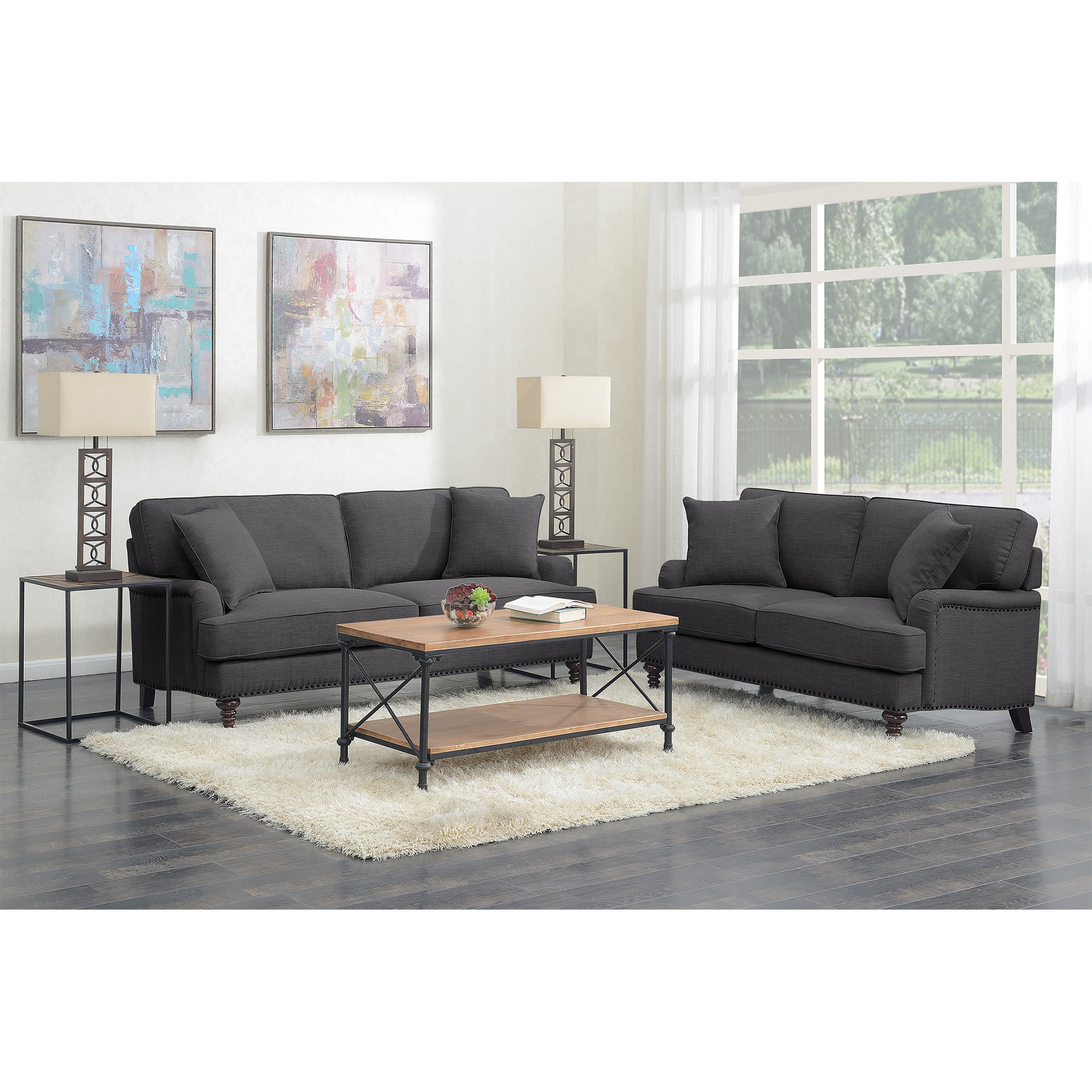Picket House Living Room Set Sofa Loveseat Charcoal