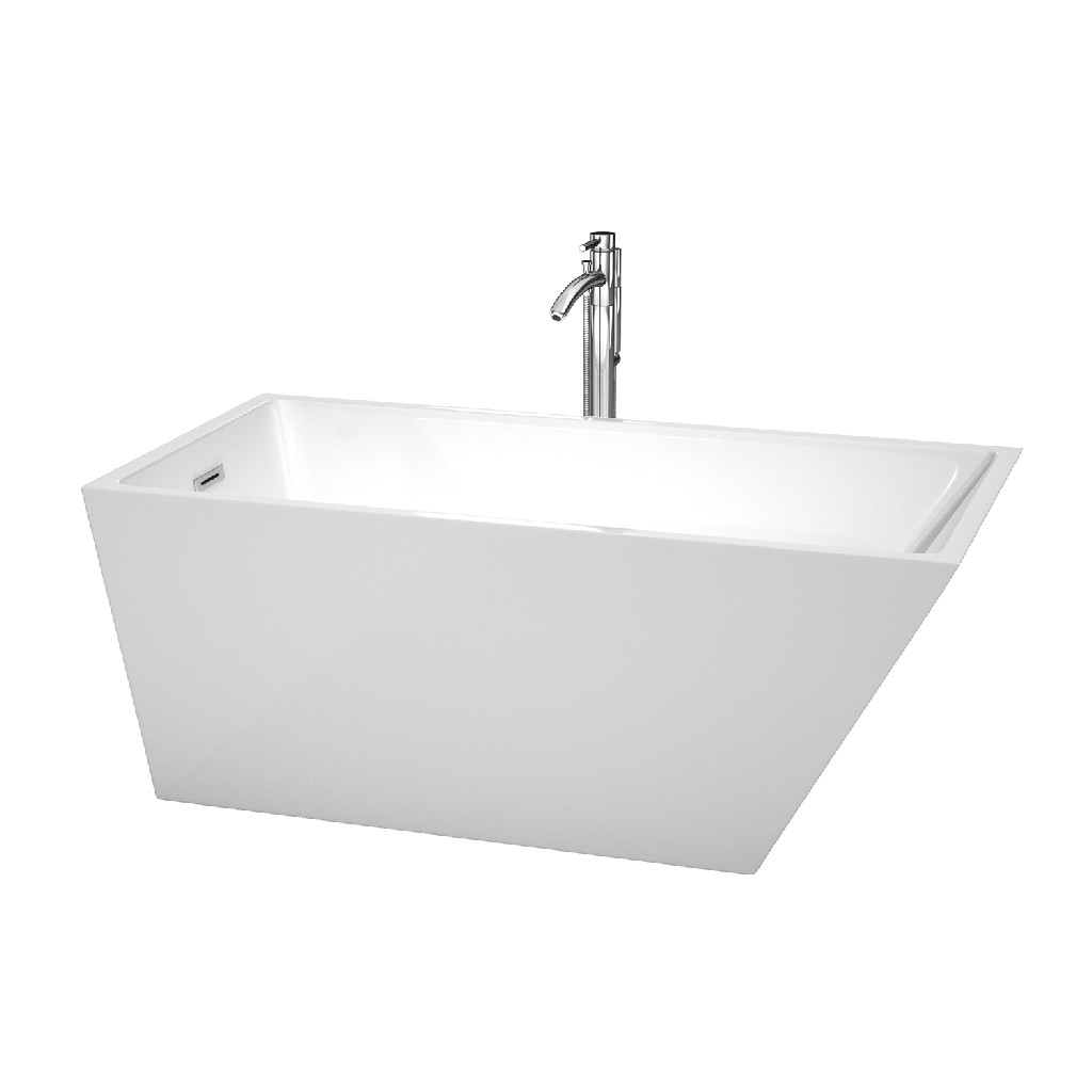 Wyndham Center Drain Soaking Tub White Floor Mounted Faucet Chrome