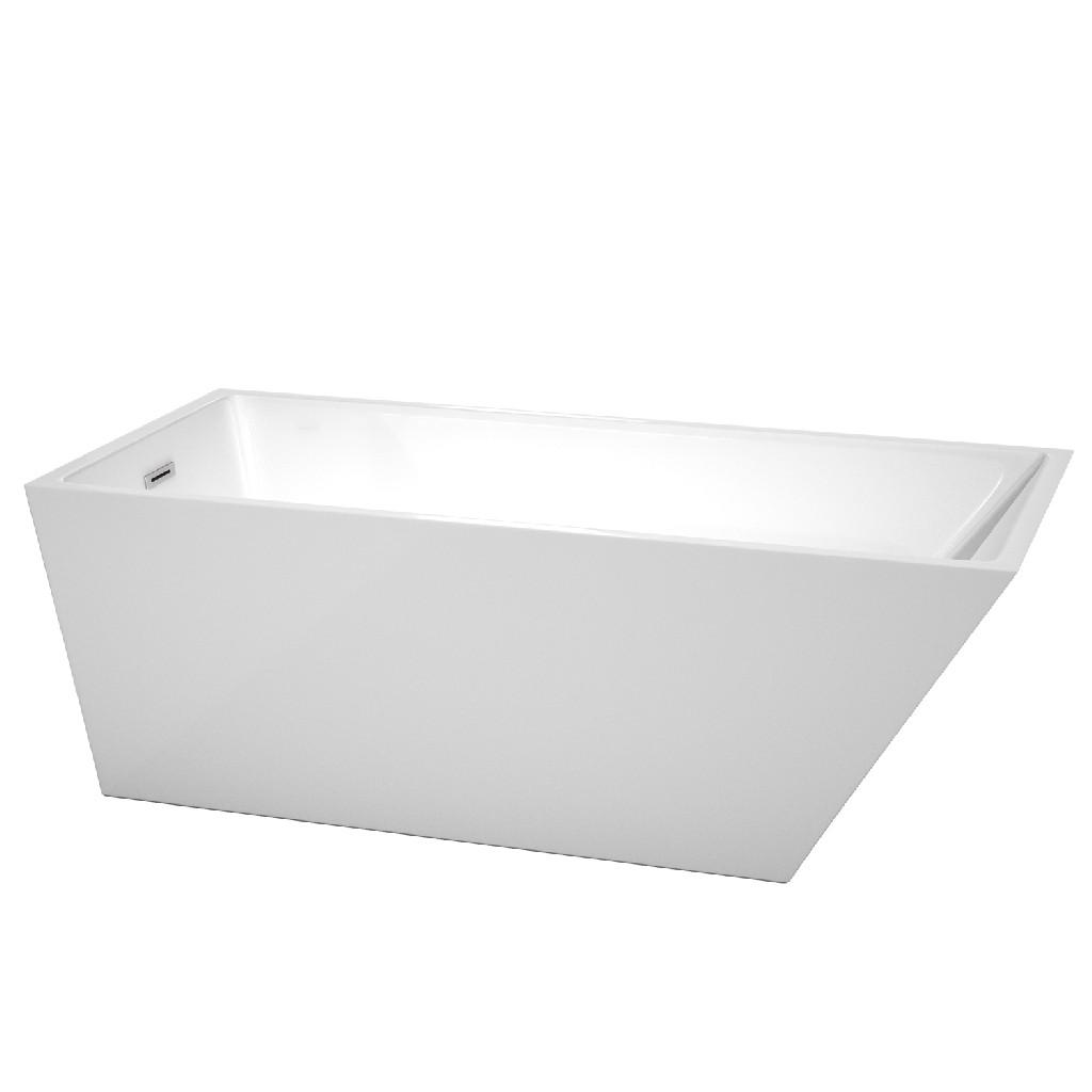 Wyndham Hannah White Soaking Bathtub Chrome Drain