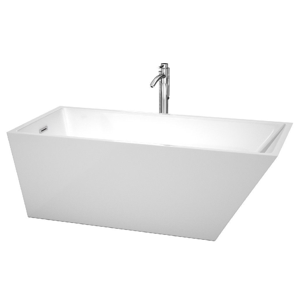 Wyndham Back Drain Soaking Tub White Floor Mounted Faucet Chrome