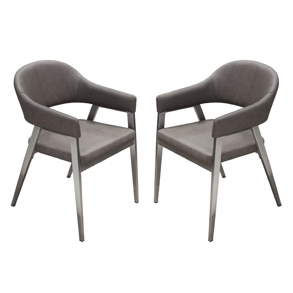 Adele Set of Two Dining/Accent Chairs in Grey Leatherette w/ Brushed Stainless Steel Leg - Diamond Sofa ADELEDCGR2PK