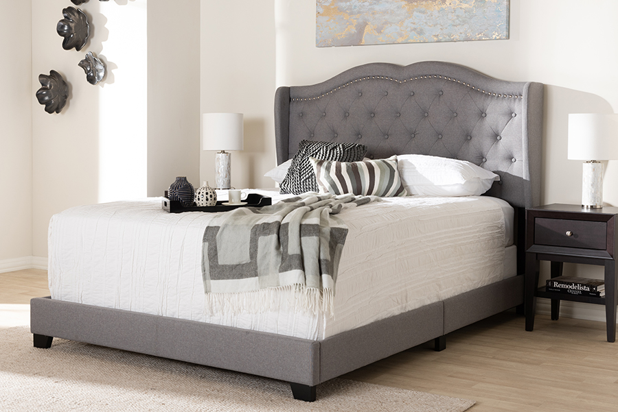 Baxton Studio Aden Modern and Contemporary Grey Fabric Upholstered Queen Size Bed - 95-Aden-Grey-Queen