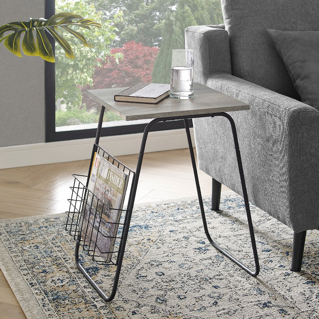 "16"" Modern Side Table w/ Magazine Holder in Grey Wash/Black - Walker Edison AF16APRSTGW"
