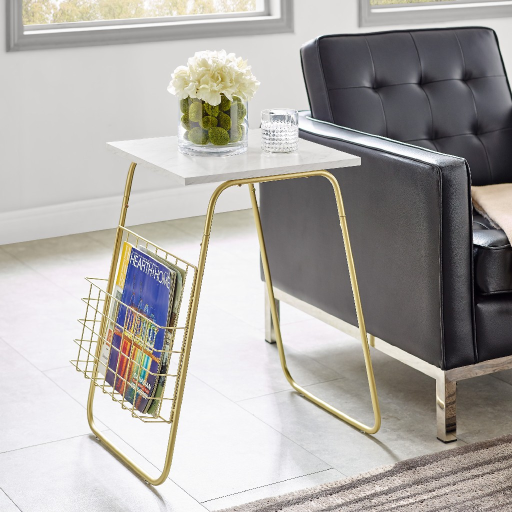 "16"" Modern Side Table w/ Magazine Holder in White Faux Marble/Gold - Walker Edison AF16APRSTWM"