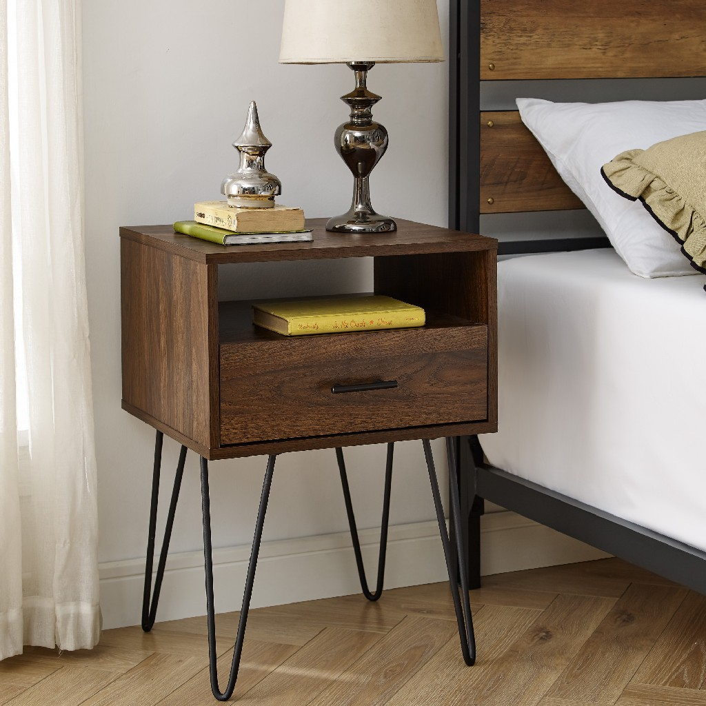 "18"" Modern Single Drawer Hairpin Leg Side Table in Dark Walnut - Walker Edison AF18CRFSTDW"