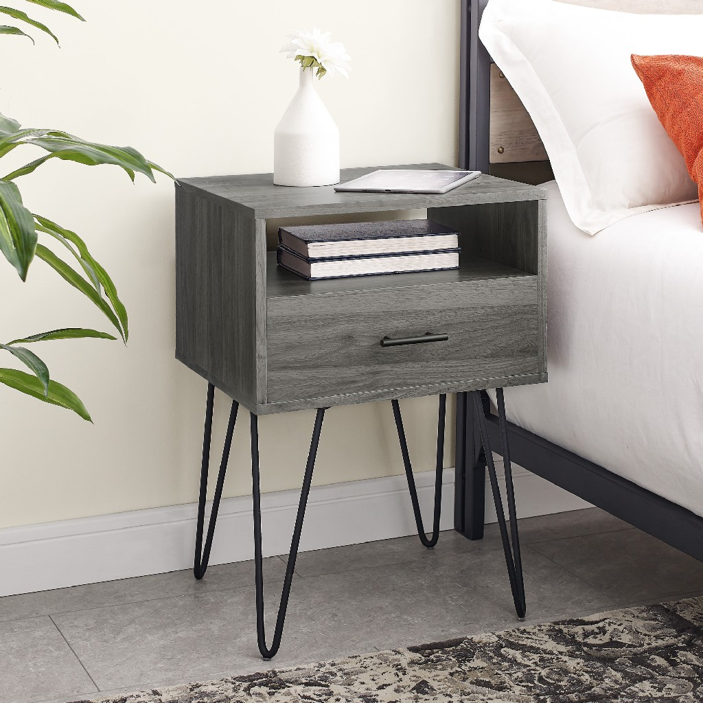 "18"" Modern Single Drawer Hairpin Leg Side Table in Slate Grey - Walker Edison AF18CRFSTSG"