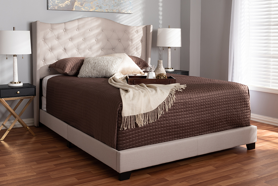 Baxton Studio Alesha Modern and Contemporary Beige Fabric Upholstered Full Size Bed - 95-Alesha-Beige-Full