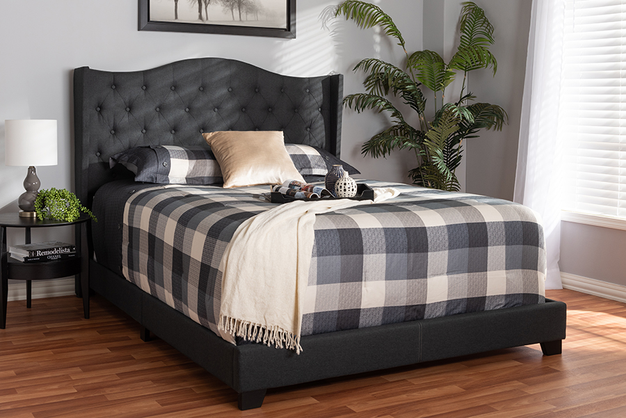 Baxton Studio Alesha Modern and Contemporary Charcoal Grey Fabric Upholstered Full Size Bed - 95-Alesha-Charcoal Grey-Full