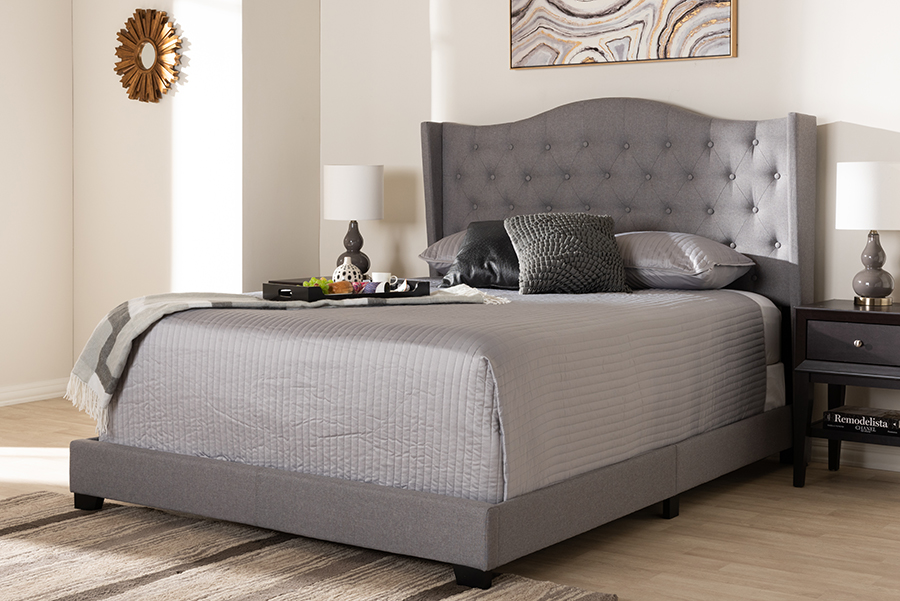 Baxton Studio Alesha Modern and Contemporary Grey Fabric Upholstered Queen Size Bed - 95-Alesha-Grey-Queen
